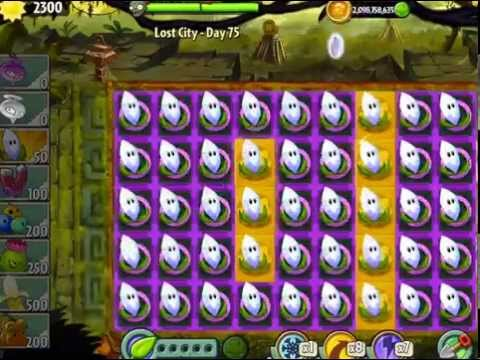 Plants vs Zombies 2 : Lost City Temple of Bloom Epic Hack - Level 74-75 No Sunflower Used Challenge