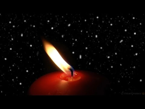 Flickering Candle Flame with Snowy Background (HD)