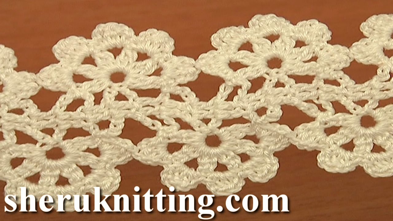 Crochet Flat Double Sided Lace Tape Tutorial 16 - YouTube