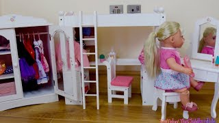 Baby Annabell Baby Born Style Bedrooms! Baby Dolls Bed & Wardrobe Nursery Toys Play
