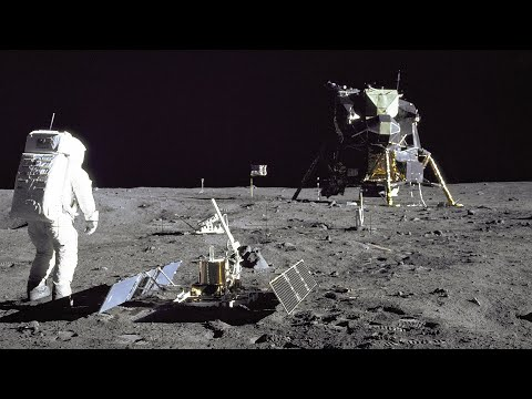 Restored Apollo 11 Moonwalk - Original NASA EVA Mission Video - Walking on the Moon