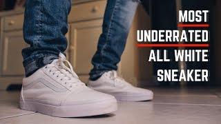 Vans Old Skool Low True White On Feet