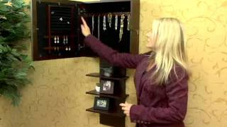 Espresso Ladder Shelf Wall Mount Jewelry Armoire By Southern Enterprises