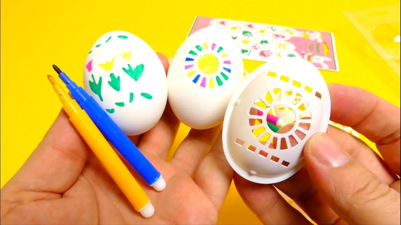 easter eggs coloring decoration dye with pens u0026 shapes youtube