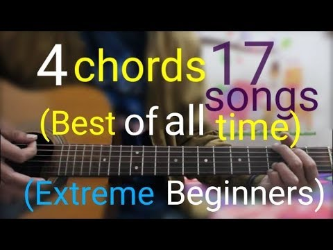 4 Chords 17 Best Songs Of all Time (Extreme Beginners) - Best Hindi Mashup guitar lesson