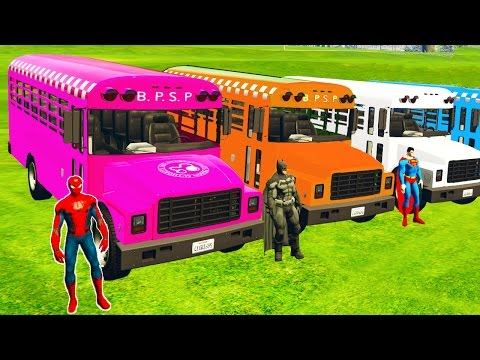 Thumbnail: LEARN COLORS with BUS in Spiderman Cars Cartoon for babies and Superheroes for kids