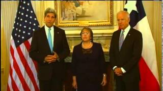 Vice President Biden and Secretary Kerry Meet With Chilean President Bachelet