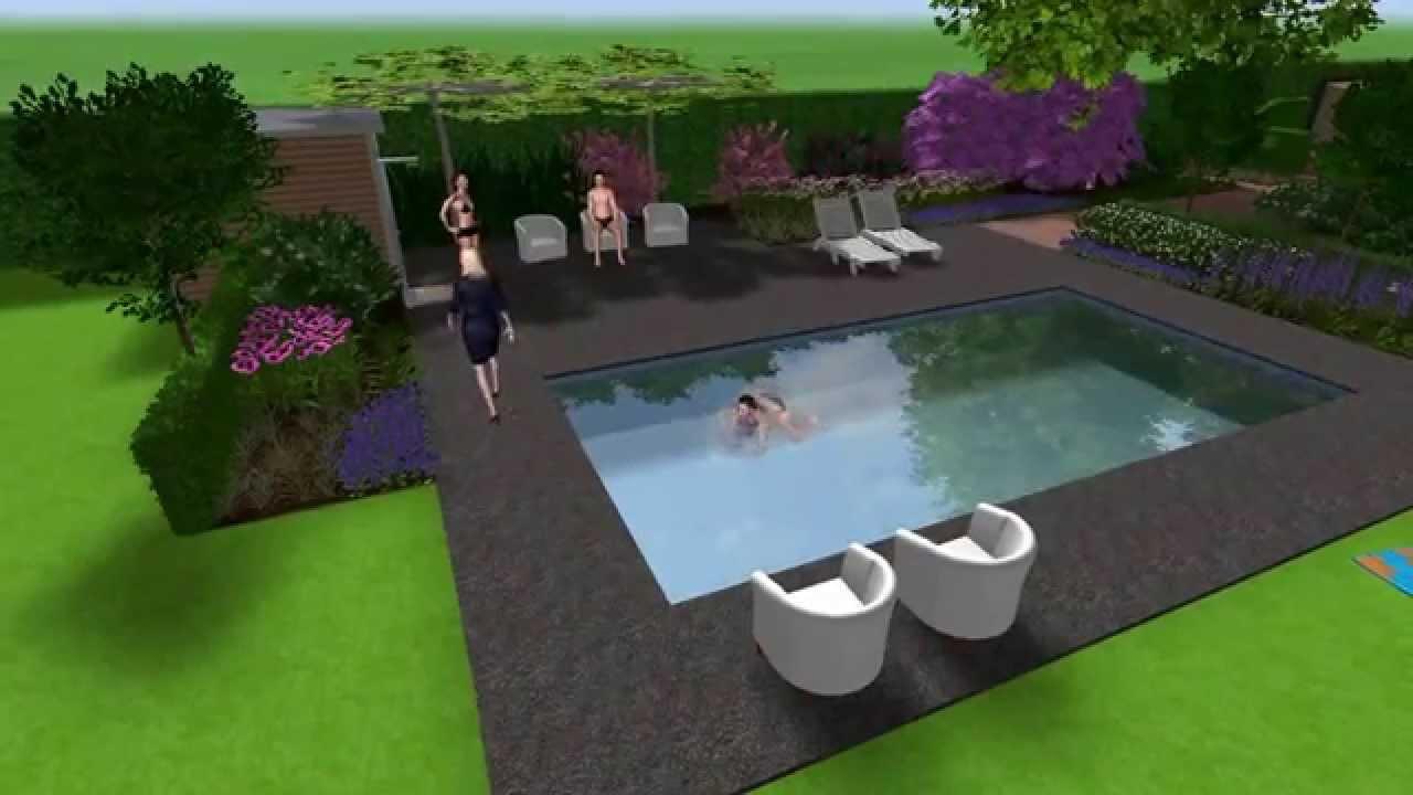 3d tuinontwerp villatuin met zwembad door dani l vos tuinvisie epe youtube - Tuinontwerp ...