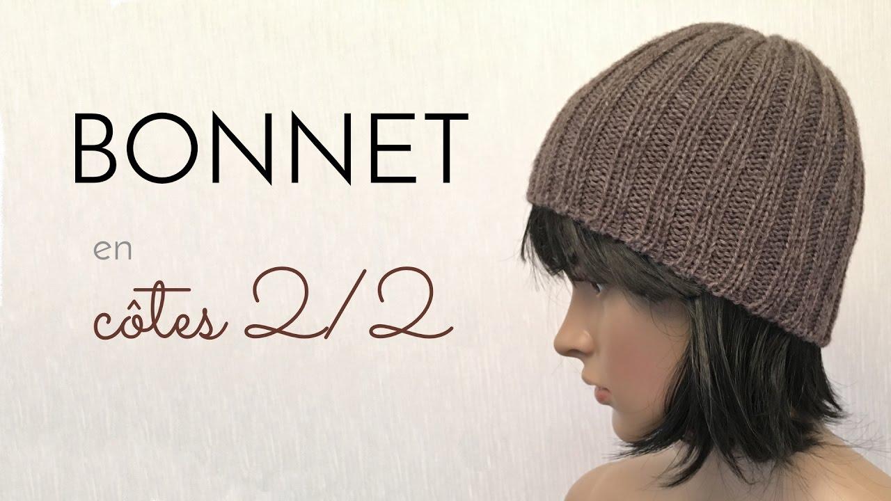 tricoter un bonnet cote 2/2