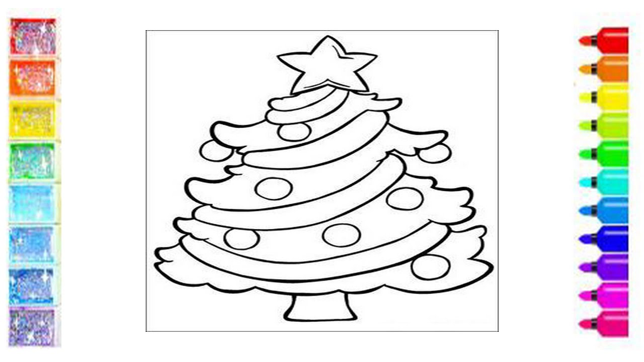 Учимся как раскрашивать новогоднюю елку / Раскраски для ...