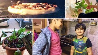 Homemade PIZZA for my boys & an easy Chicken Pulao | A day when my husband was away from home !!!