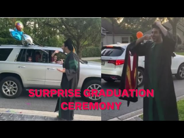 Family and friends surprise student with drive-by graduation ceremony during social distancing