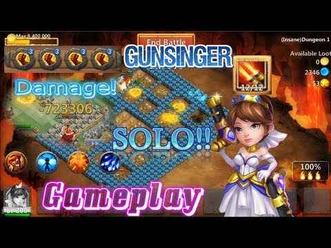 Gunslinger Skill12 Solo Dungeon Insane Damage! Castle Clash