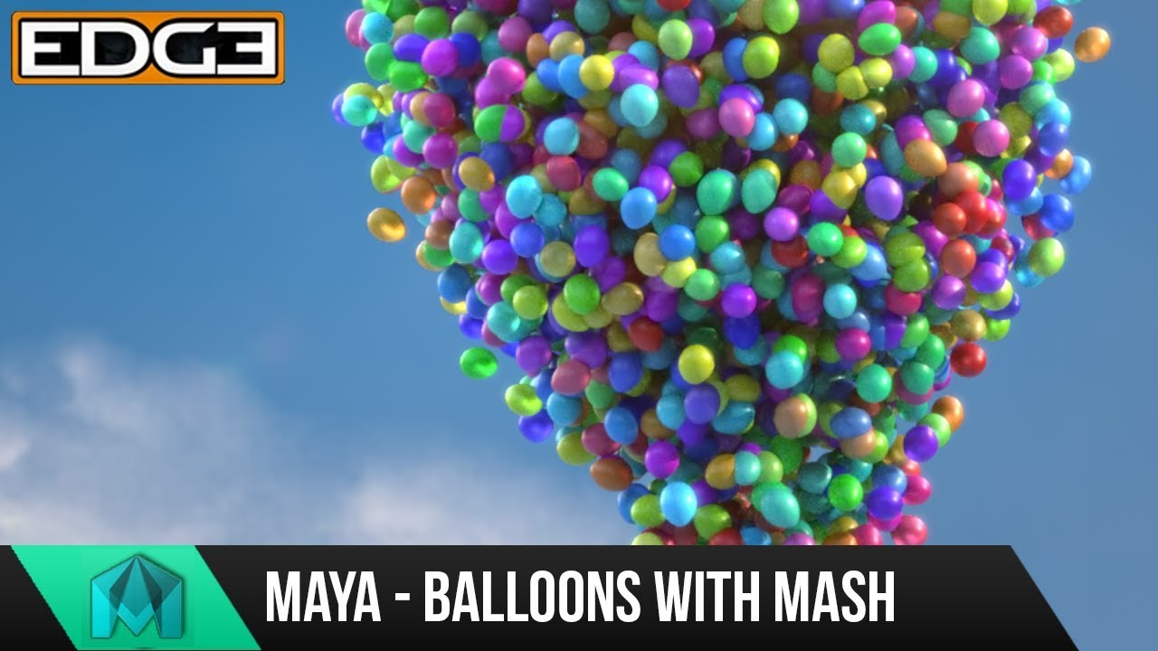 Maya 2017 MASH Tutorial - Scatter balloons and vertex color in Arnold by Edge-CGI 3D Tutorials and more!