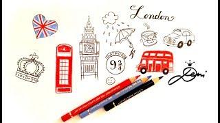 London Doodles 💕☔⚜️ How to Draw British ⚡️Wie zeichnet man London 👑Big Ben