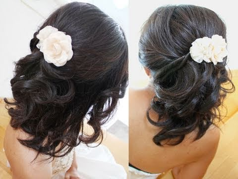 Bridal Hairstyle for Short Medium Long Hair Tutorial Weddings Prom - YouTube