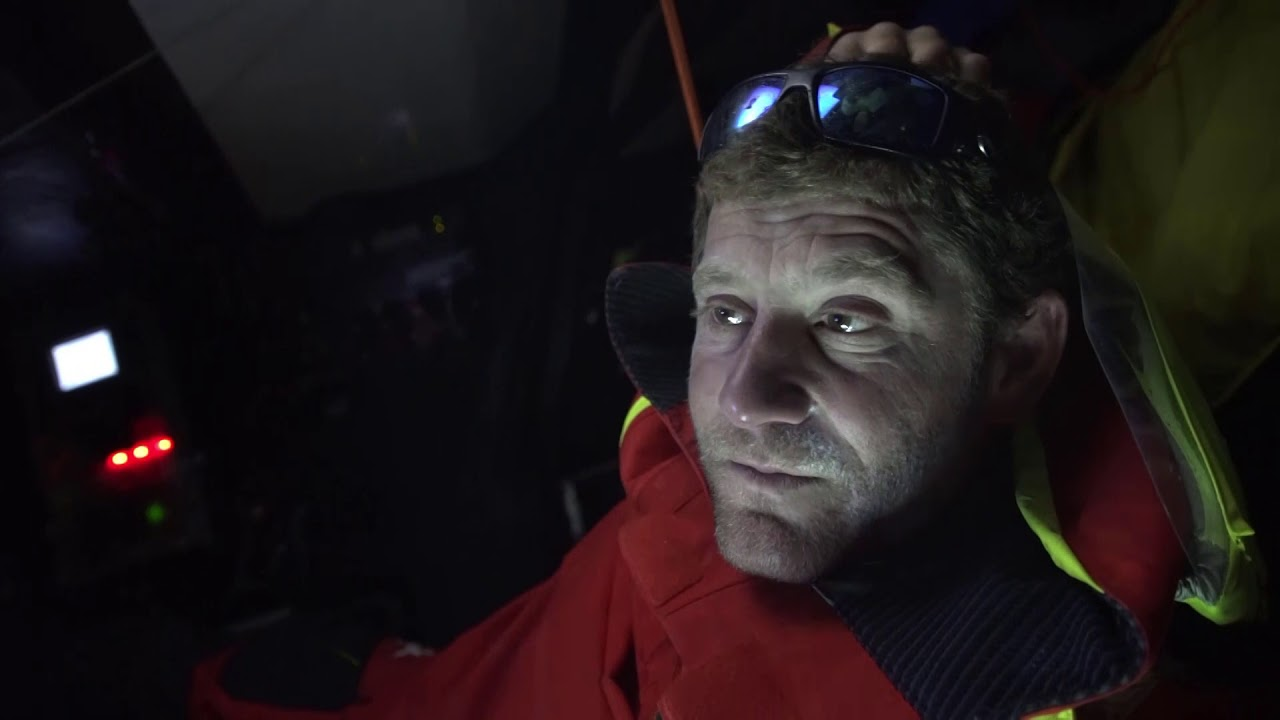 Charles, at the nav station, talks in French. I hear him mention Vestas (dismasted) and MAPFRE (suspended and resumed). Then in English: Are two boats with us. High pressure; light spots. We are fighting for the first place with Brunel. But people are tired and the biggest mistake we could do would be to push too much and break something. Have to find a good balance. Come back, but sail safe. There is a good gap for the moment. If you take the ranking at the moment, we would be taking the lead for the Volvo. Want to put one boat between MAPFRE and us. Akzo will easily finish ahead of MAPFRE, but TTToP has a problem, and they might finish behind MAPFRE. Doesn't know what they're problem is, but they've slowed down a lot in the last two days, so probably a rig problem. Hope they can stay ahead of MAPFRE; that would be great for us. But we'll see. Horace talks in Mandarin, presumably about the same thing (I hear him mention TTToP).