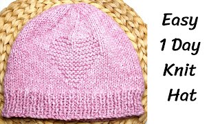 How To Knit Easy Hat With Heart Pattern For Beginners