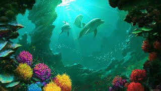 Музыка саксофон. Ночной океан. Морской риф. Animals & fish.