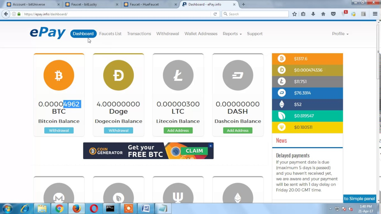 Earn Everyday Free Bitcoin 10 000 From Elite Epay Faucet Site 20 To 70 Satoshi Every 5 Minutes -