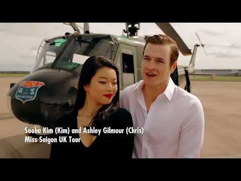 Stars of Miss Saigon, enjoy up-close encounter with Vietnam veteran 'Huey' helicopter.