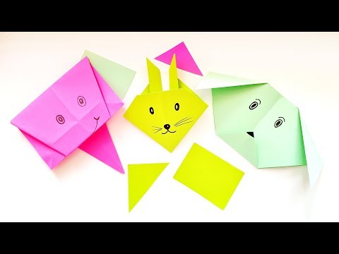 3 DIY Easy Paper Crafts Ideas For Kids - Origami Animals Tutorial \ Dog, rabbit and elephant