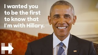 President Barack Obama endorses Hillary Clinton for president | Hillary Clinton(SUBSCRIBE for the latest news and updates from the Hillary Clinton campaign ▻ http://hrc.io/1IoVaSK Text IN to 47246 Watch more videos from Hillary Clinton!, 2016-06-09T17:51:38.000Z)