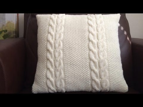 How To Knit A Cable And Seed Stitch Pillow, Lilu's Handmade Corner Video # 59