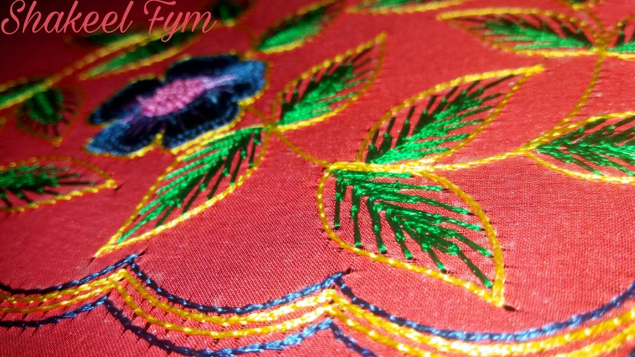 Hand embroidery leaf stitch tutorial aari maggam youtube