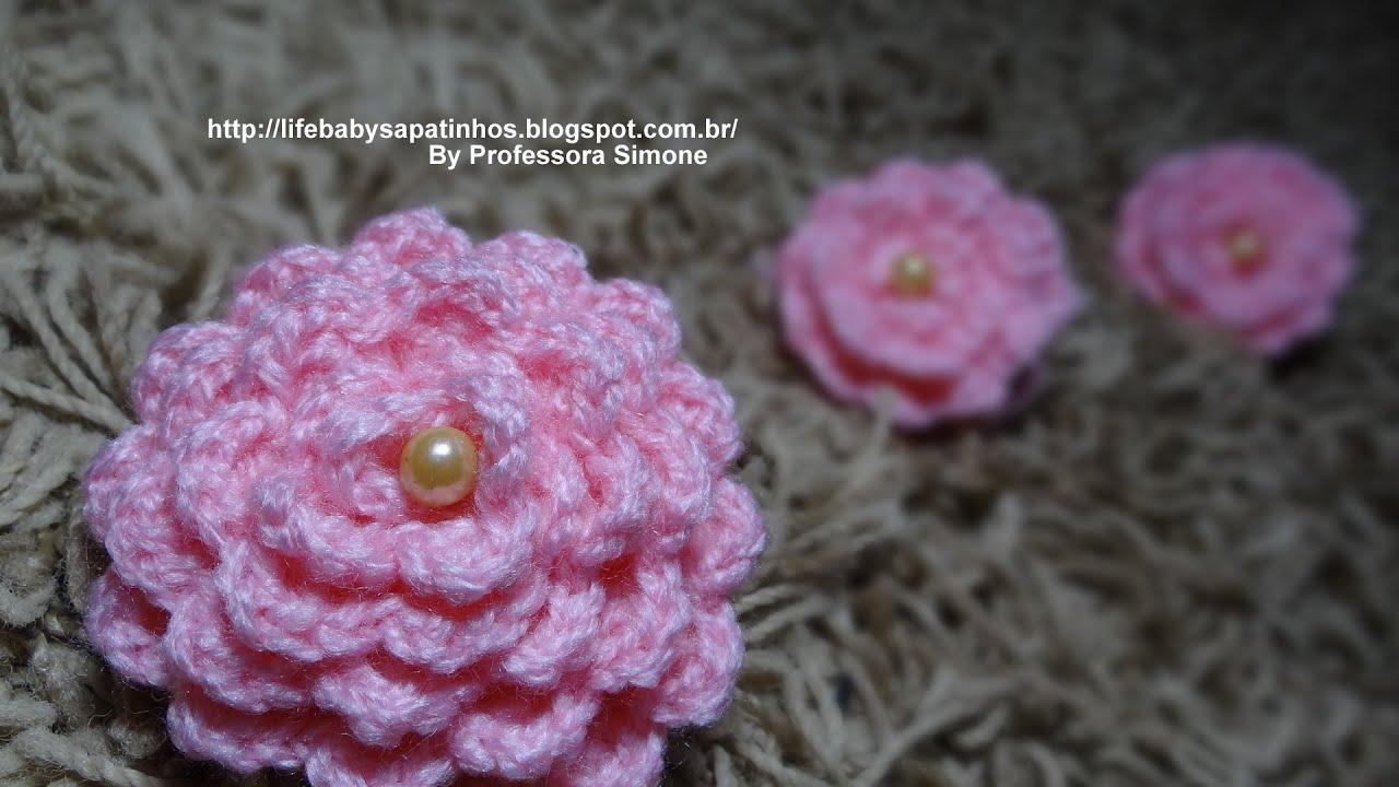 Flor para aplicação em Crochê com Pérola - Professora Simone - YouTube 4edc9ee2435
