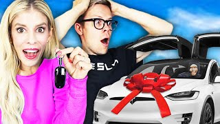 Surprising My HUSBAND with a NEW TESLA! (His Dream Car) | Rebecca Zamolo Video