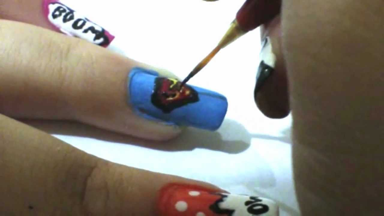 Tutorial: Diseño Pop Art/ Comic para uñas ♥ - YouTube