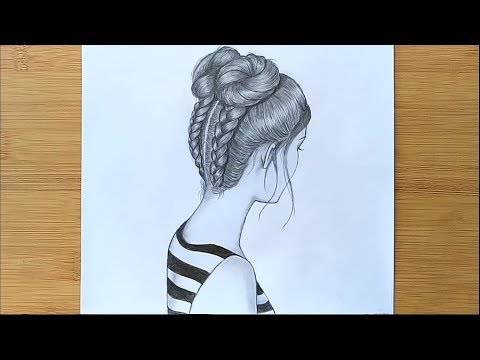 How To Draw A Girl With DOUBLE BUNS Hair  -  Step By Step