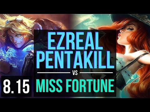 EZREAL vs MISS FORTUNE (ADC) ~ Pentakill, KDA 18/1/9, Legendary ~ Korea Diamond ~ Patch 8.15