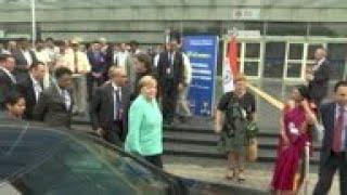 Merkel visits German funded metro station in New Delhi