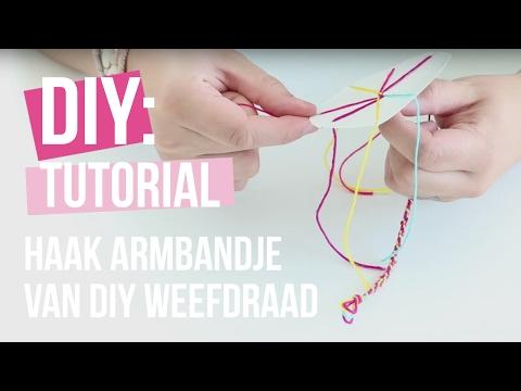 Sieraden maken: Haak armbandje van DIY weefdraad ♡ DIY
