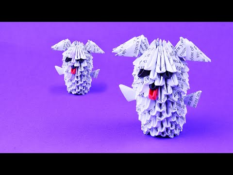 How to make a dog ☃ symbol 2018 year. A funny puppy of paper ☃ 3D origami tutorial DIY own hands