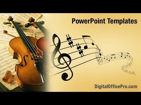 violin music powerpoint template backgrounds - digitalofficepro, Modern powerpoint