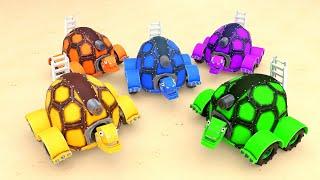 АнимаКары Изучаем цвета вместе с черепахой Обучающие мультики для детей с машинами и зверями