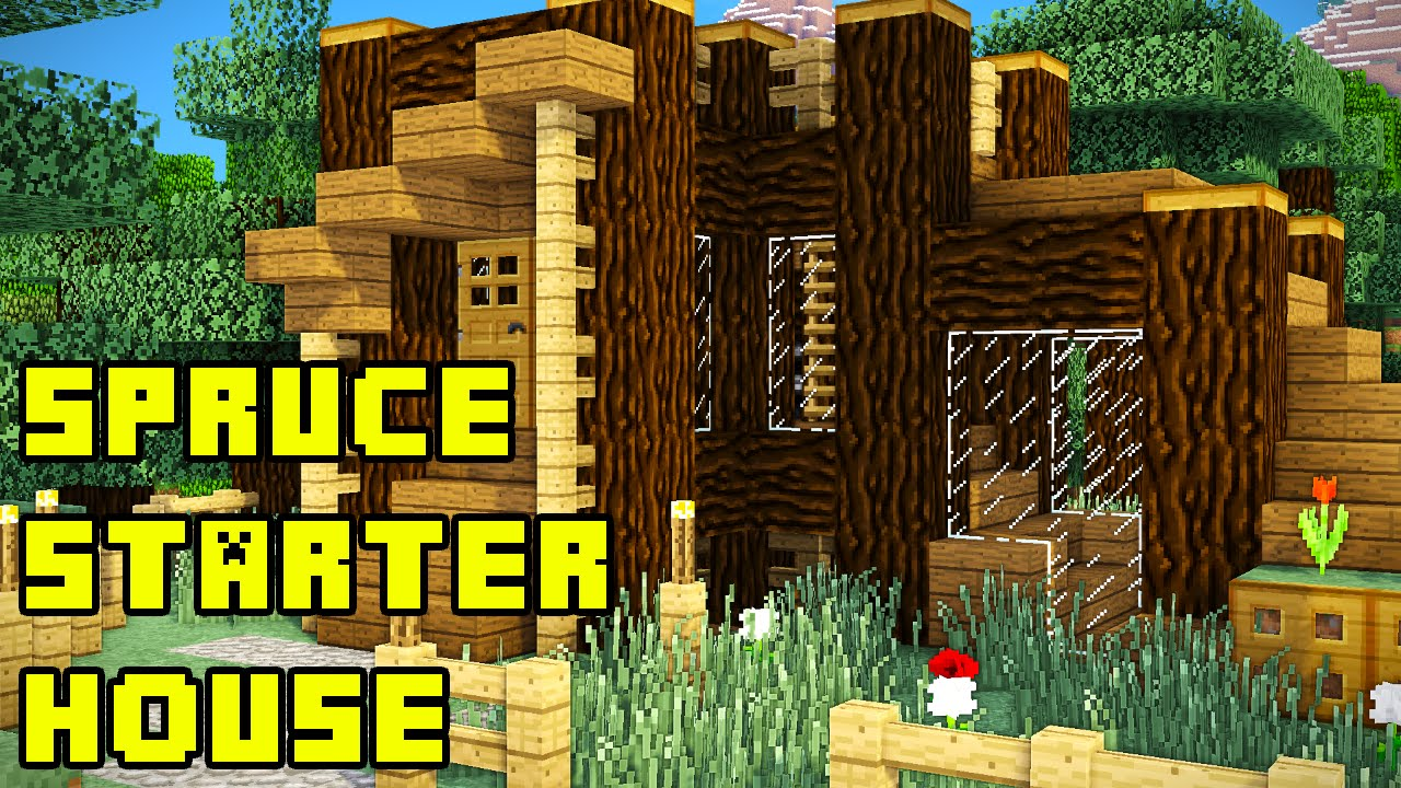 Minecraft Spruce Starter House Tutorial How To Build Youtube