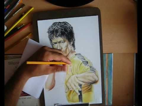 Bruce Lee With Color Pencil Speed Drawing YouTube