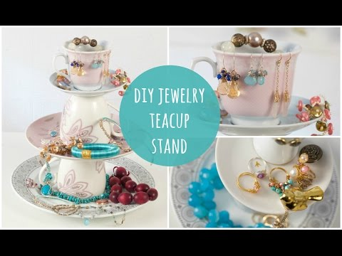 DIY Jewelry Stand  - Tea Cup Jewellery Organiser (easy make)
