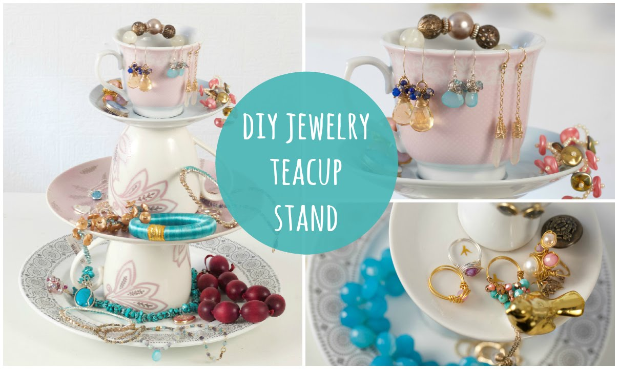 diy jewelry stand tea cup jewellery organiser easy make youtube