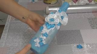 Dekoracja ślubnej butelki wina# Wedding wine bottle decoration
