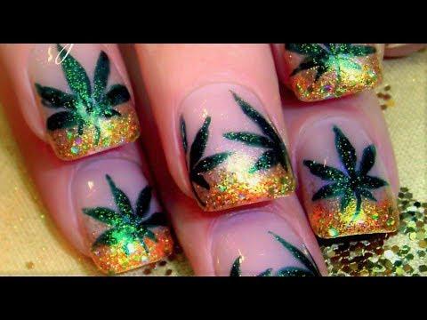 Weed Nail Art Design 420 Marijuana Manicure Nails Tutorial Youtube