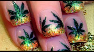 DIY 420 Nail Art Design | Easy Marijuana Manicure Coachella Nails Tutorial