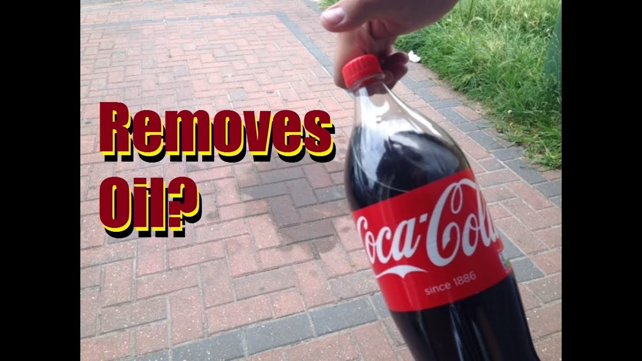 Does coca cola remove oil from your driveway youtube for Clean oil from concrete