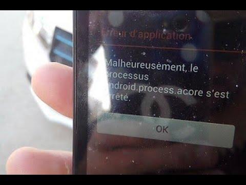 malheureusement le processus android process acore s