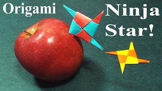 How to make a Paper Pointy Ninja Star (Origami Throwing Star Shurikens) - TCGames [HD]!