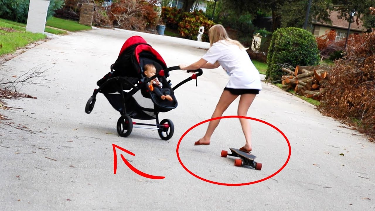 riding electric skateboard while pushing a stroller bad idea